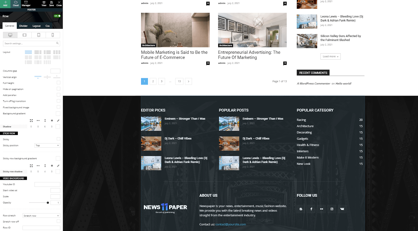 How to edit Header and Footer Areas on Newspaper Theme