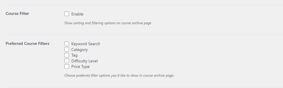 add filters in tutor lms
